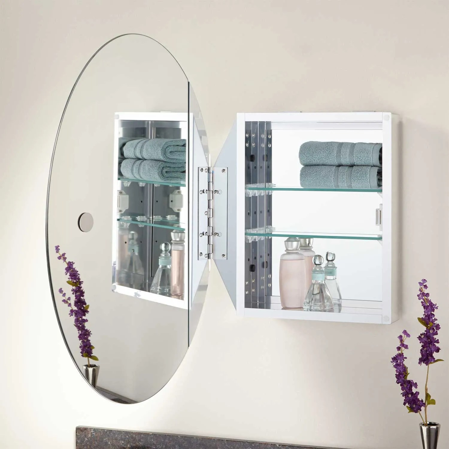 Recessed Shaving Cabinets Taussig Surface Mount Oval Medicine Cabinet Bathroom