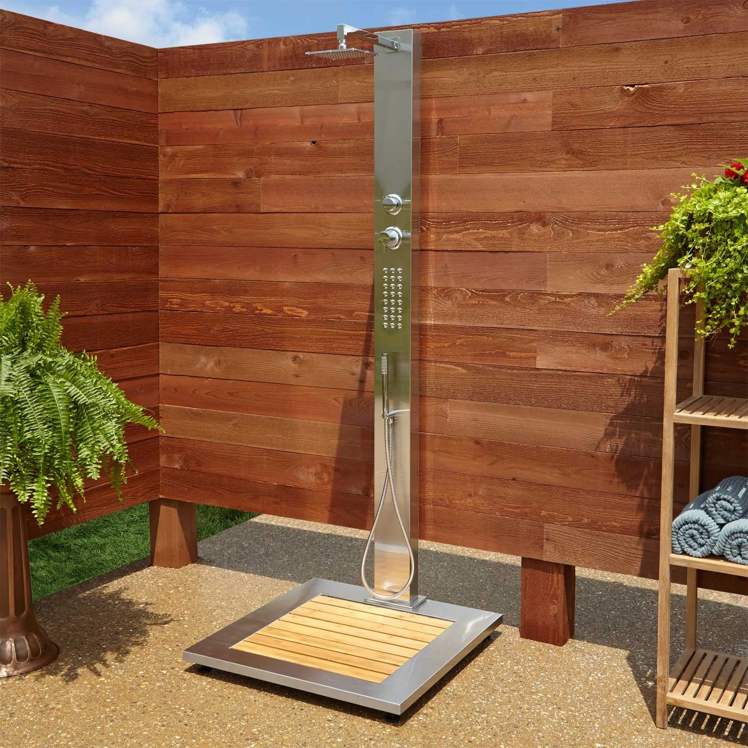 Outdoor Shower Base Ideas Abner Outdoor Stainless Steel Shower Panel With Bamboo