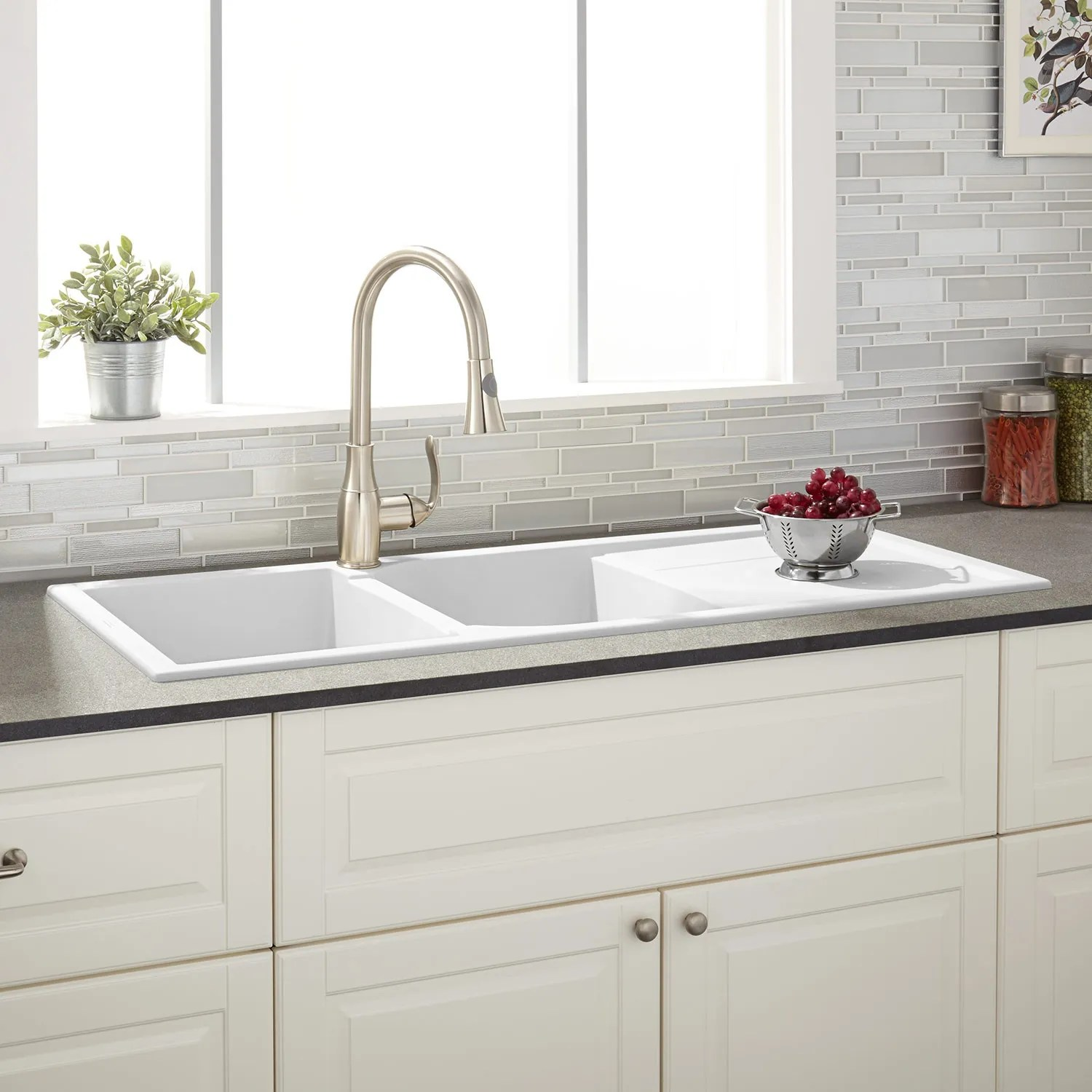 White Kitchen Sink 46 Quot Tansi Double Bowl Drop In Sink With Drain Board
