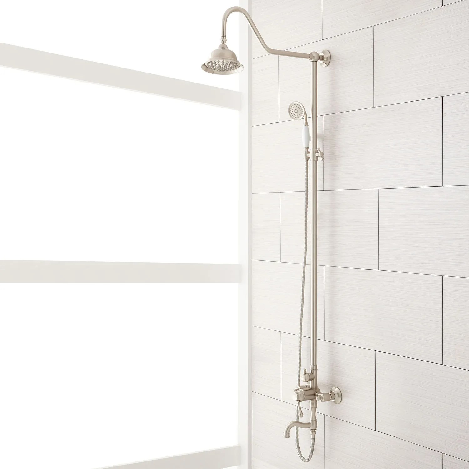 Dolwick Exposed Pipe Shower And Tub Faucet Bathroom