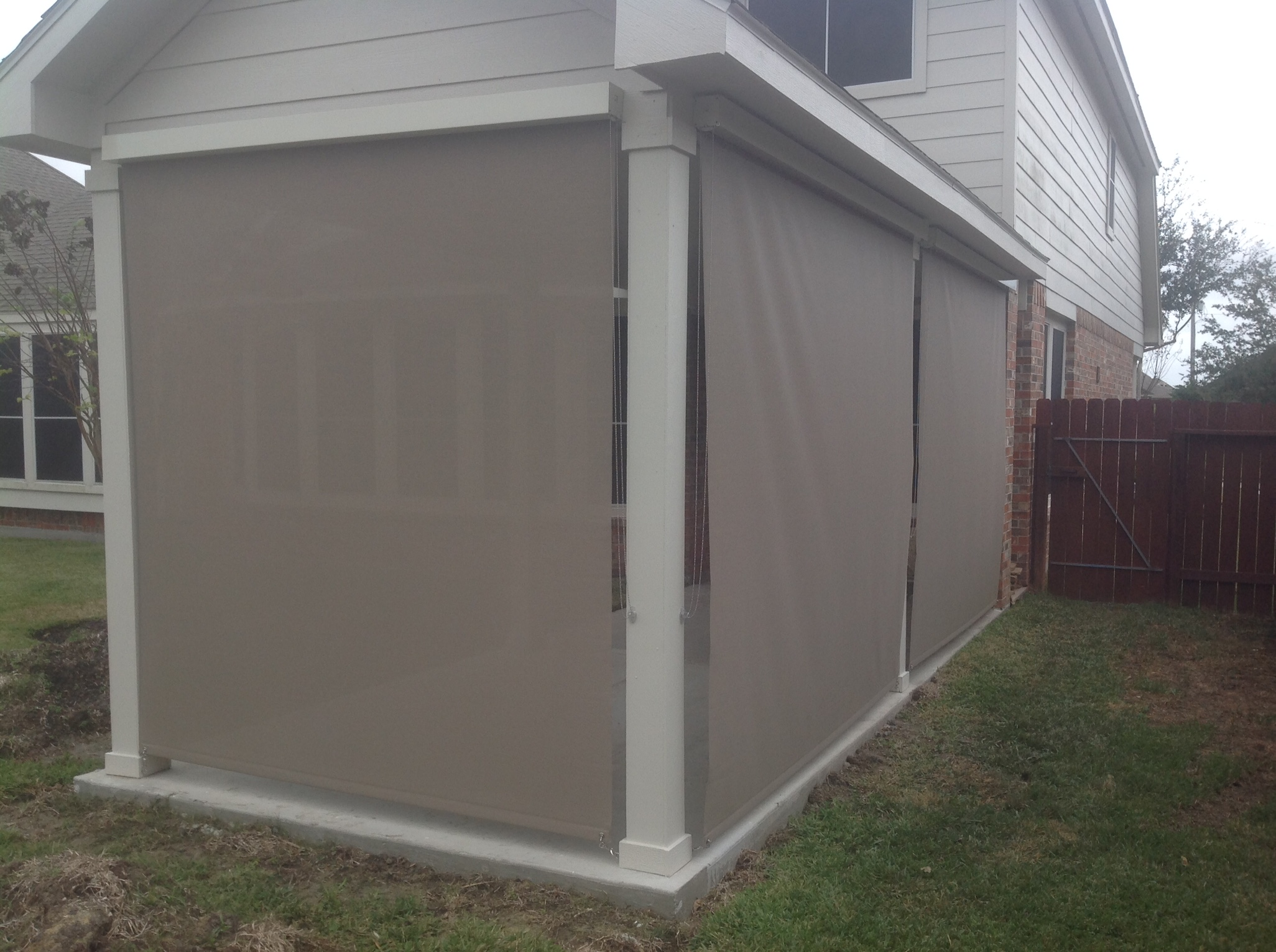Garage Door Screen That Rolls Up Houston Outdoor Shades Roll Up Or Down Shades Roll Away Shade