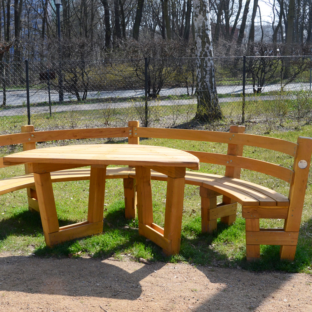 Bank Halbrund 9.1.9.3 Semicircular Bench With Table, Small - Sik-holz