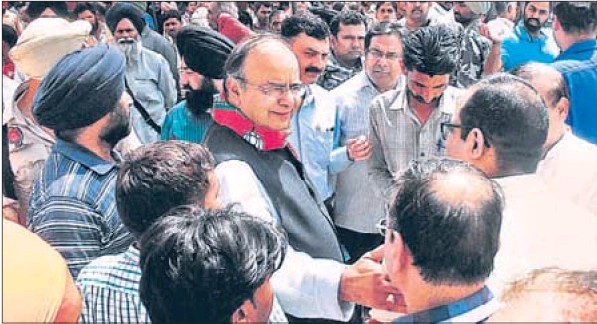 BJP candidate Arun Jaitley during campaigning in Amritsar.