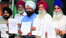 Representatives of various Sikh organisations in Chandigarh on Sunday.