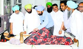 Taking stock PPCC chief Partap Singh Bajwa and other Congress leaders at Guru Nanak Dev Hospital in Amritsar