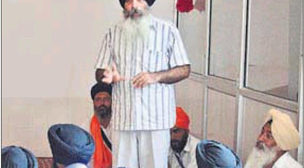 Dal Khalsa spokesman Kanwal Pal Singh addressing a gathering in Amritsar