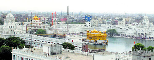 A bird's eye-view of the Golden Temple, which is surrounded by various commercial units under the scanner in Amritsar.