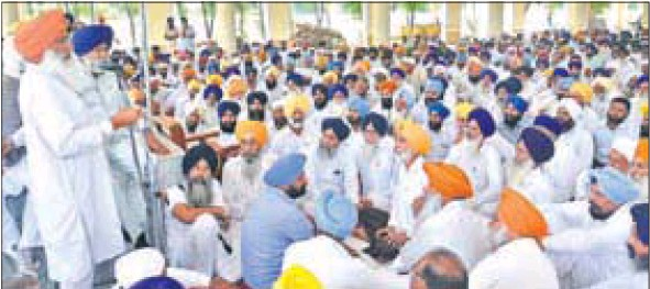 SAD general secretary and Rajya Sabha member Sukhdev Singh Dhindsa addressing party workers in Sangrur