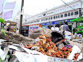 A pile of garbage on the Galliara road near the Golden Temple
