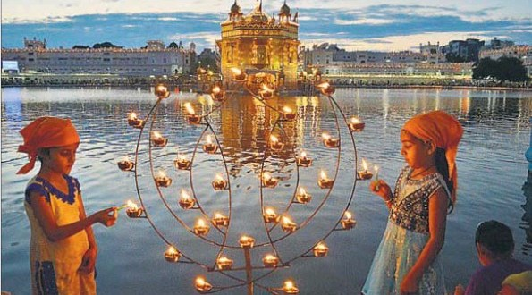 (Clockwise from above) The light of devotion during the 410th anniversary of the installation of Guru Granth Sahib at Harmandar Sahib, in Amritsar on Monday; Giani Jagtar Singh, head granthi of the Golden Temple, ca