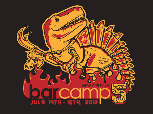 This year's BarCamp NOLA logo, featuring a dinosaur with a tasteful amount of blood.