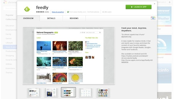 Chrome Web Store new feedly