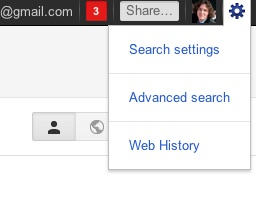 Personal results search settings