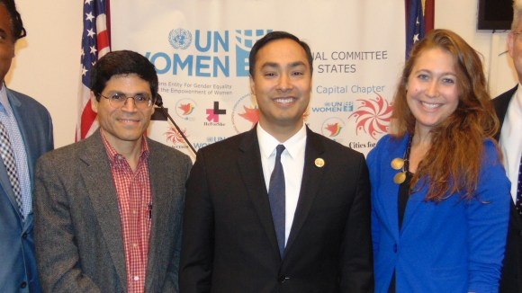 USNC UN Women National Capital HeForShe Capitol Hill launch. From l. to r.: Neil Irvin, Oswaldo Montoya, Congressman Joaquin Castro, Emma Becca, and Tim Harwood
