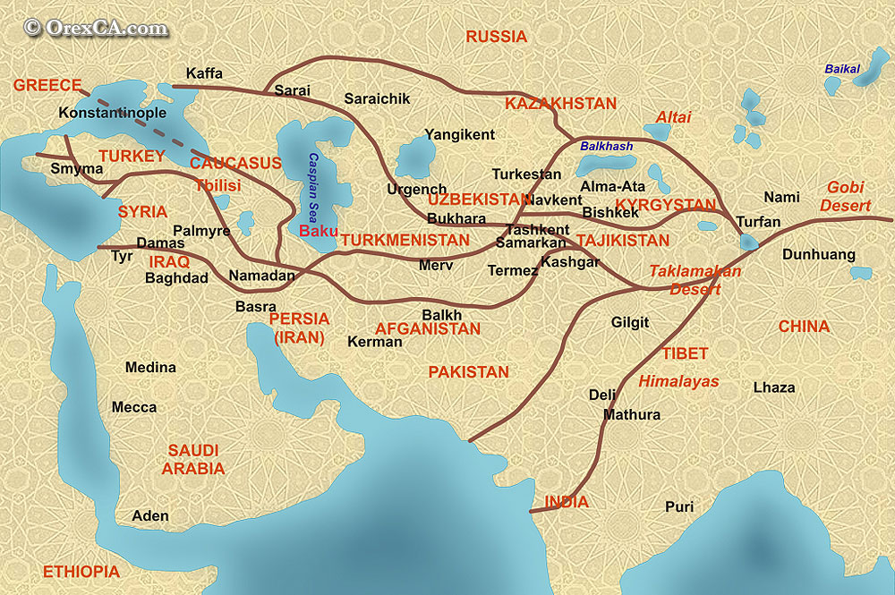 The Great Silk Road and following the footsteps of the Great - blank road map