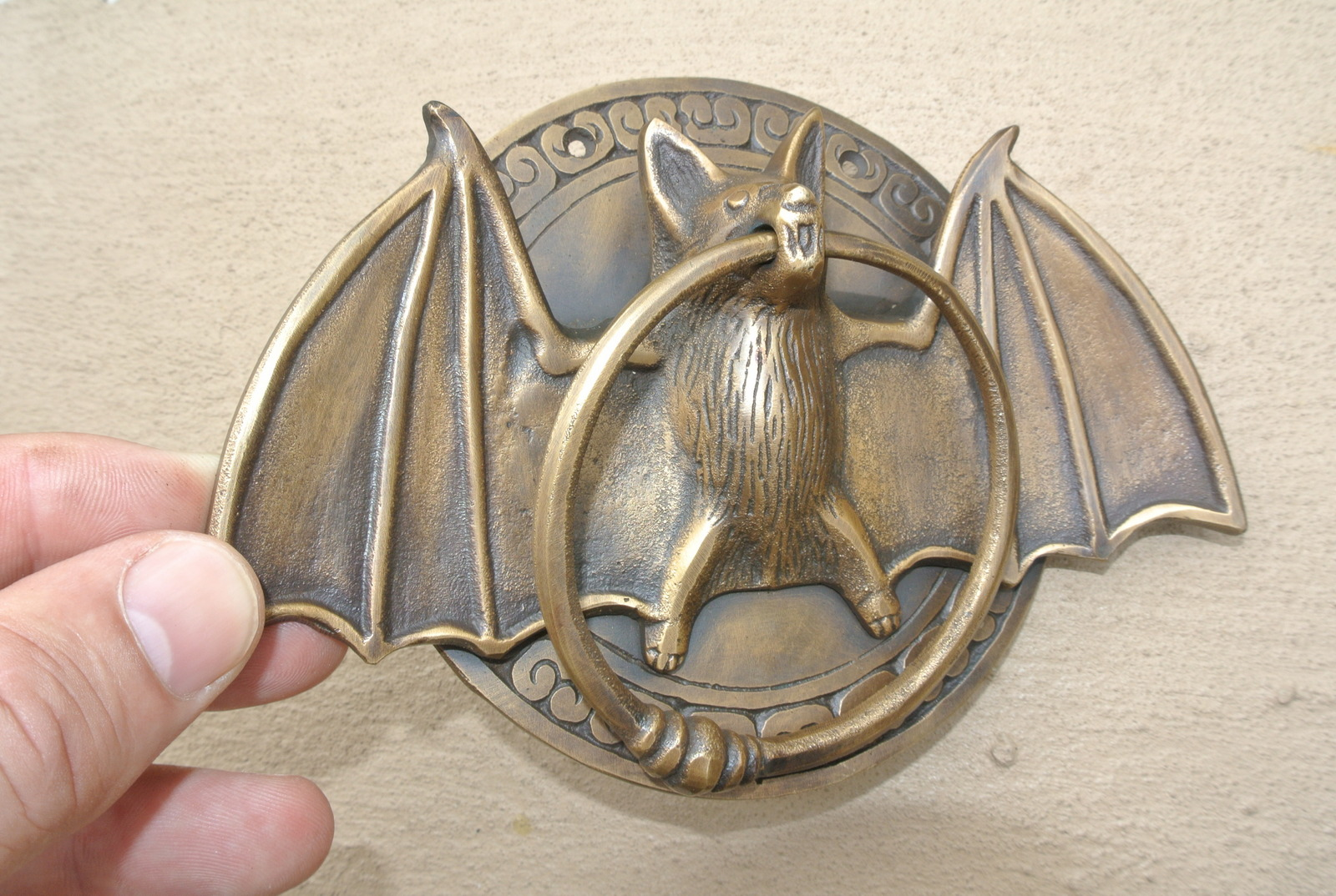 Heavy Door Knocker Heavy Cast Solid Brass Bronze Patina Small Heavy Bat Door