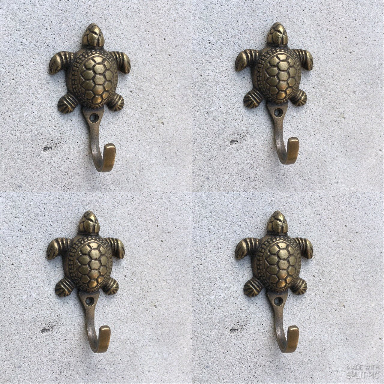 Turtle Door Knocker 4 Small Turtle Coat Hooks Solid Age Brass Old Vintage Old Style Hook Heavy 3