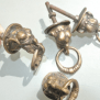 4 Small Elephant Pulls Handles Antique Solid Brass Vintage