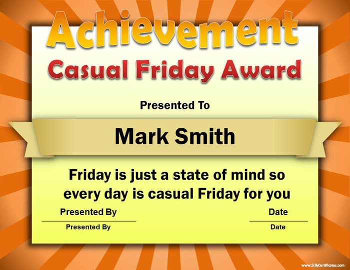 Silly Certificates - Funny Awards for the Office - Silly Certificates Awards Templates