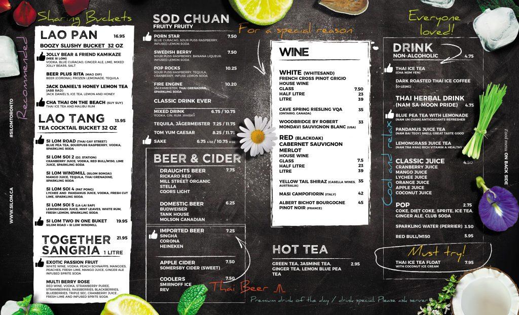 Menu \u2013 Si Lom Thai Bistro - menu