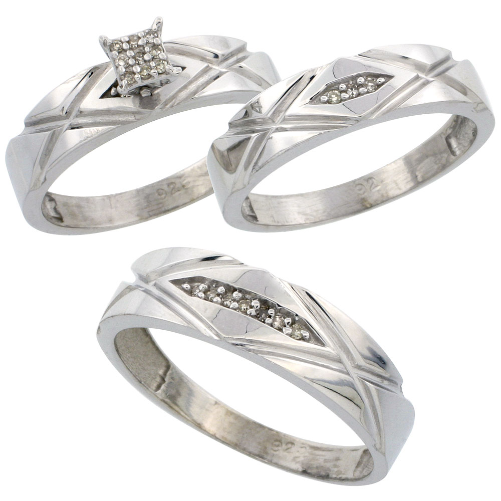 Trio Ring Sets wedding ring trios Sterling Silver Diamond Trio Wedding Ring Set His 6mm Hers 5mm Rhodium finish Men s
