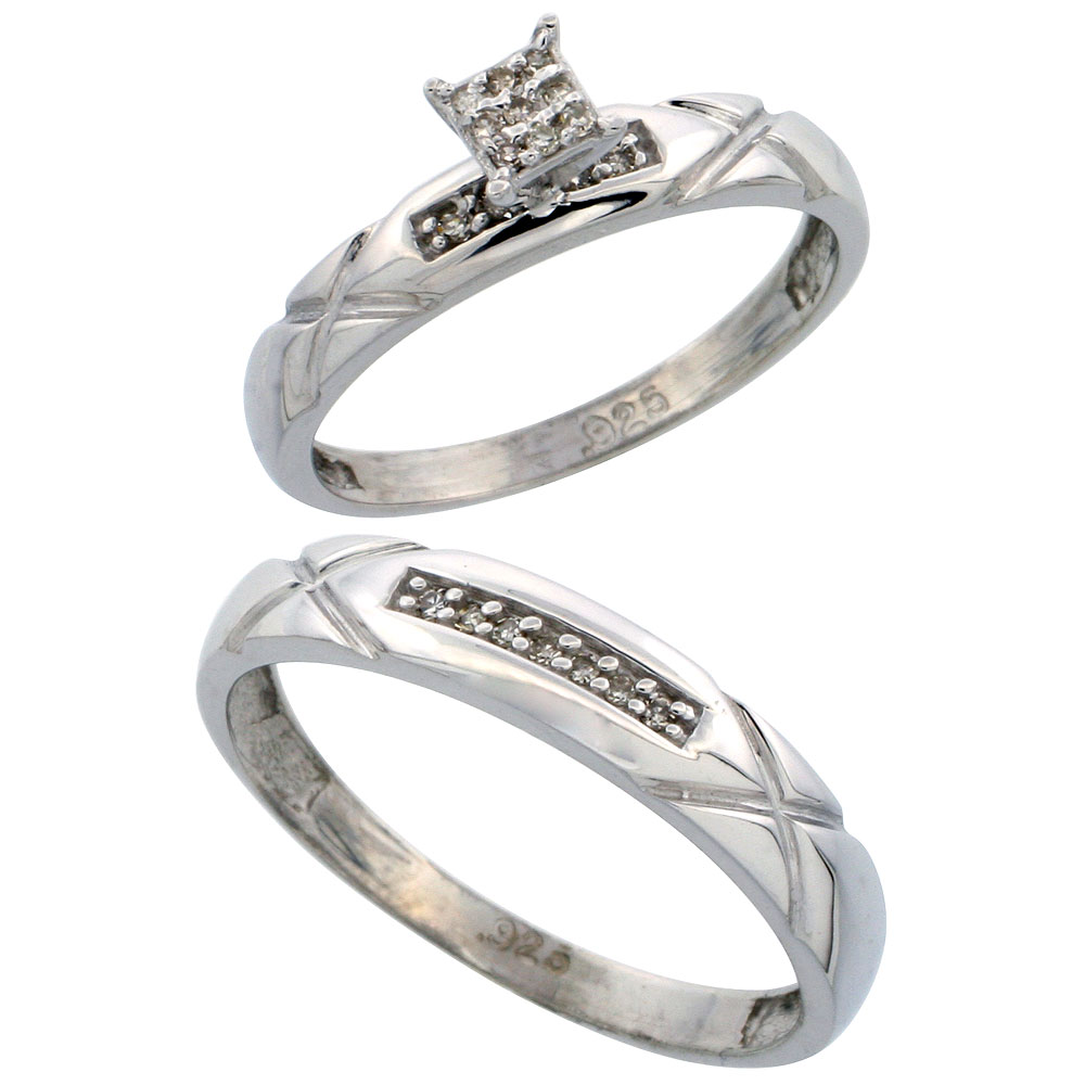 His and Hers Ring Sets silver wedding ring sets Sterling Silver 2 Piece Diamond wedding Engagement Ring Set for Him and Her Rhodium finish