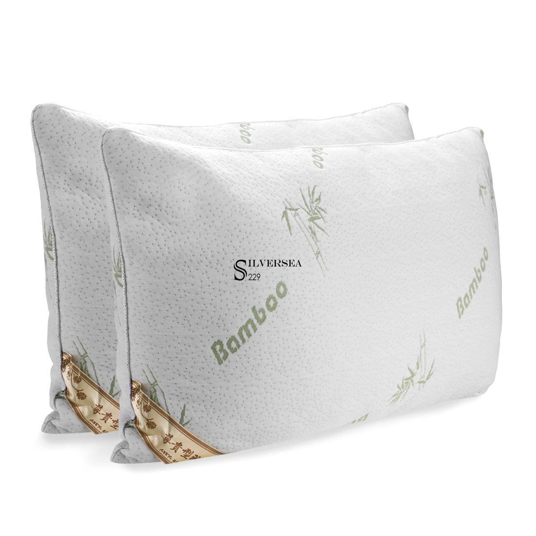 2 Pcs White Cervical Protection Polyest Fiber Bamboo
