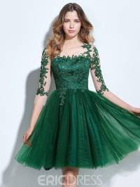 Ericdress A-Line Scoop 3/4 Length Sleeves Appliques Button ...