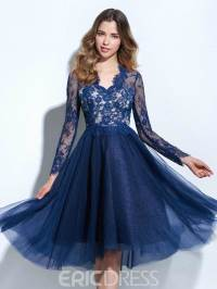 Ericdress A-Line V-Neck Long Sleeves Lace Knee-Length ...
