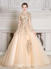 Ericdress Jewel Ball Gown Long Sleeves Appliques Beading ...