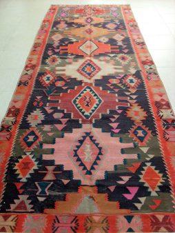 Oud Kaukasische Kazak Kelim 371 x 132