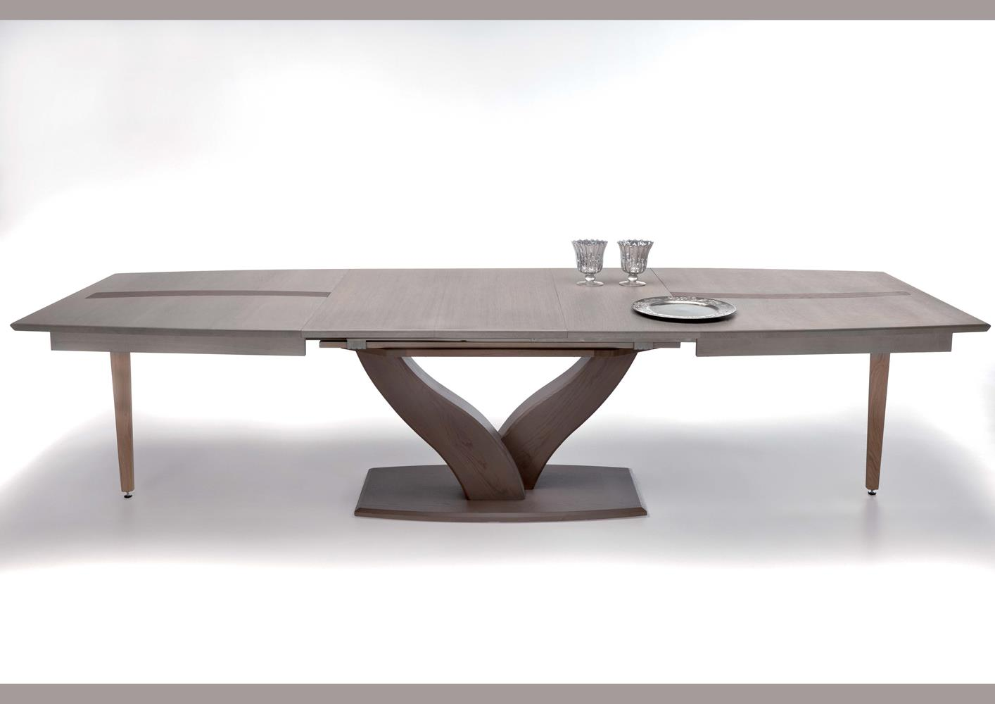 Table Pied Central Extensible Table Moderne Pied Central Y En Chêne Massif