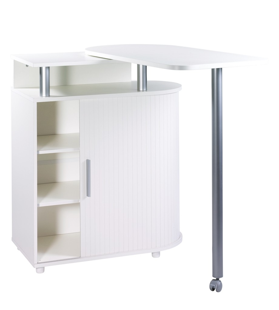 Table Bar Rangement Kitchen Island With Rotating Table 360 White White Roller