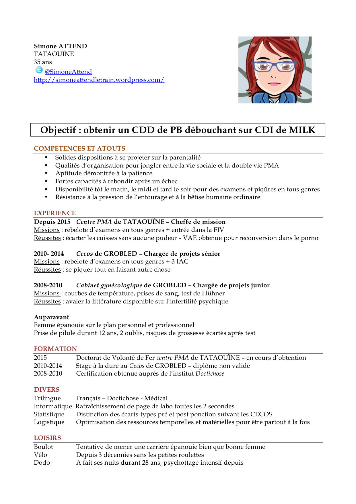 cv osteopathe exemple