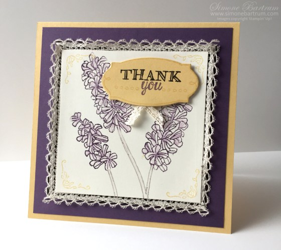 Stampin' Up!'s 'Helping Me Grow' set. Colours: Plum, Saffron, Espresso and Vanilla