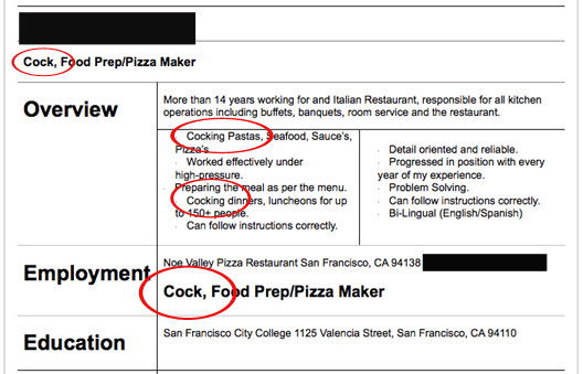funny examples of bad resumes