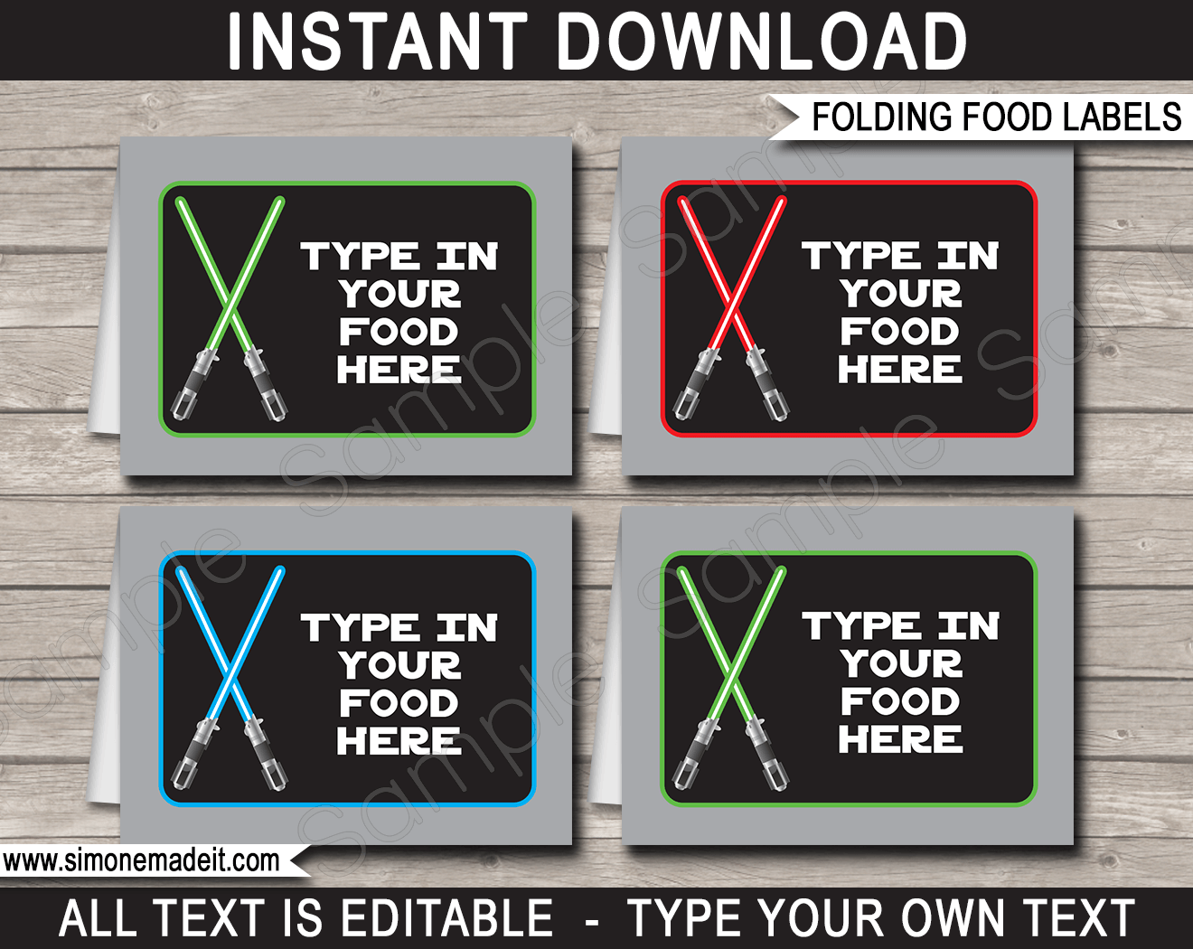 Star Wars Cooking Supplies Star Wars Party Food Labels Place Cards Birthday Party