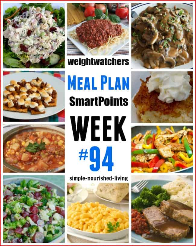 Weight Watchers Weekly Dinner Meal Plan #94 Freestyle SmartPoints