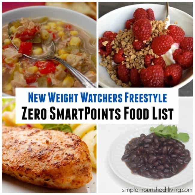 WW Freestyle Zero SmartPoints Food List Simple Nourished Living