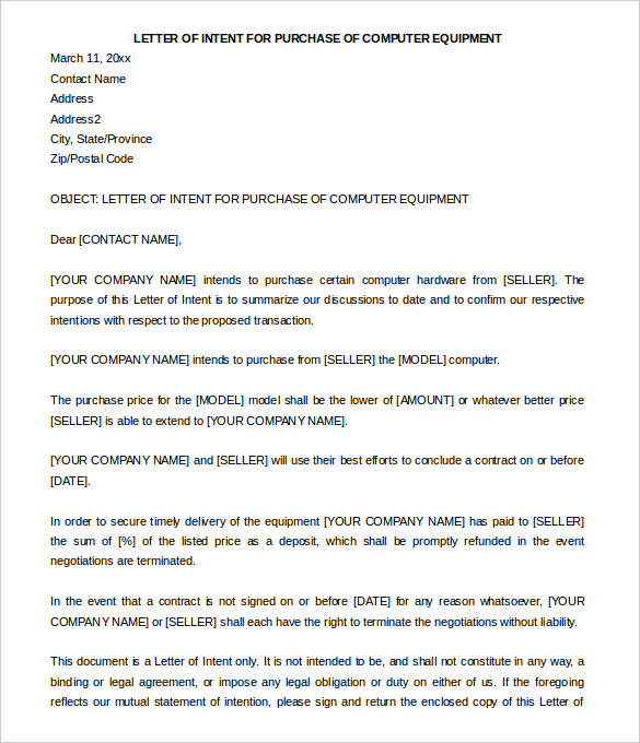 Letter Of Intent to Purchase Land Template Samples Letter Template