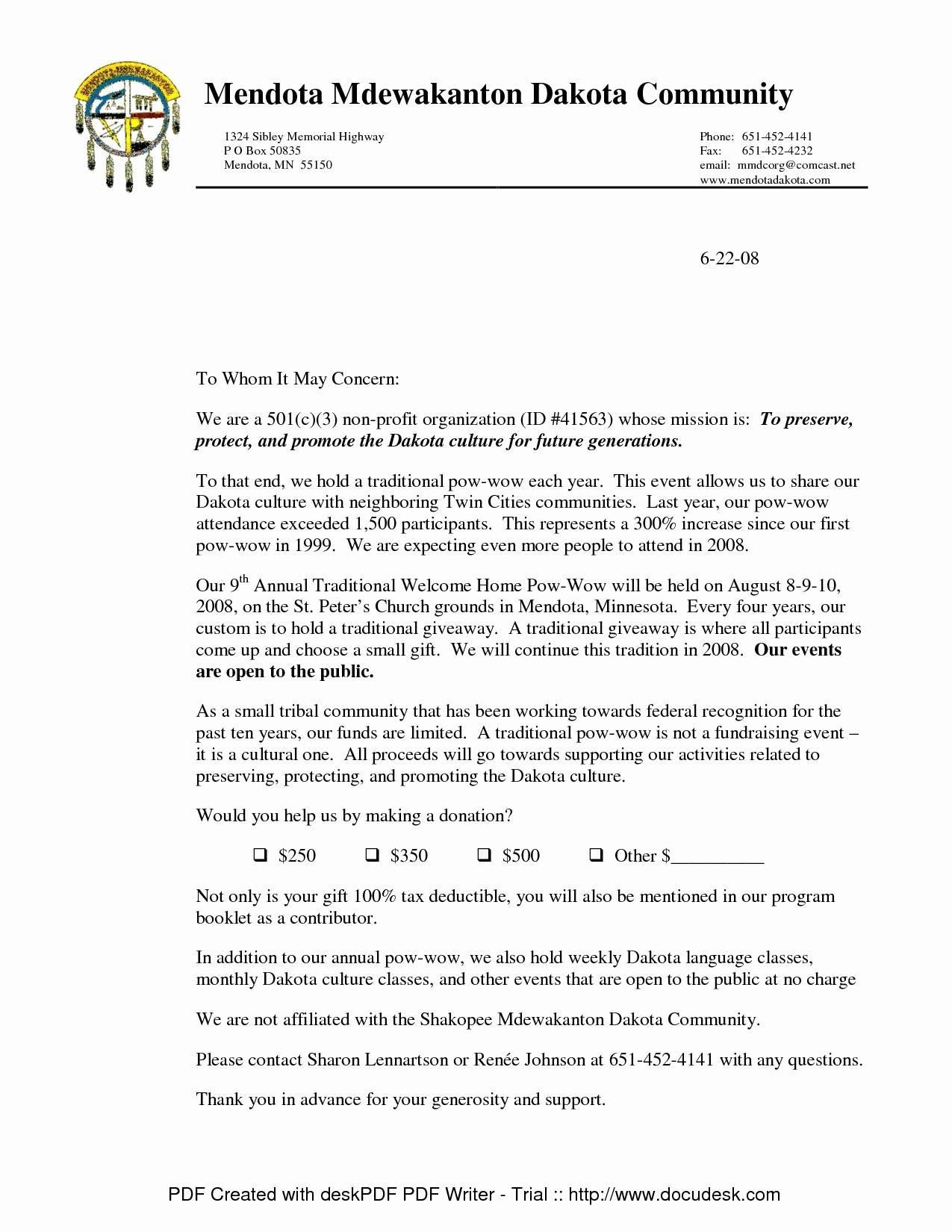 sample donation receipt letter for non profit
