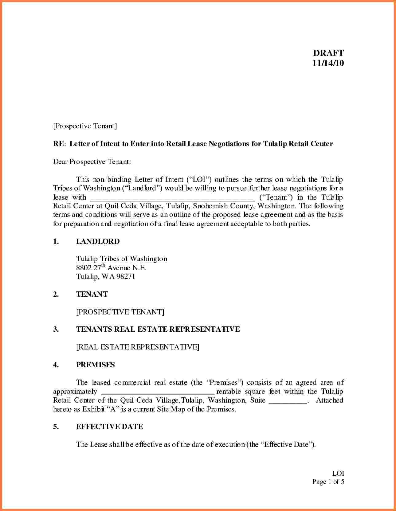 Business For Lease Letter Of Intent To Lease Commercial Space Template