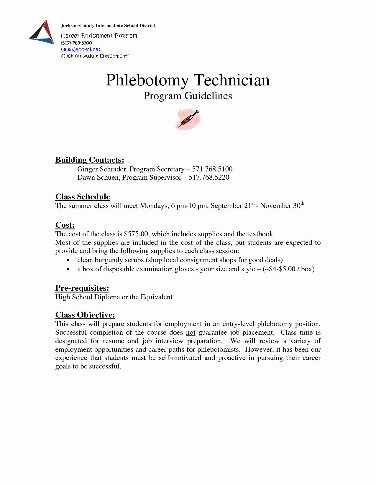 phlebotomy cover letter entry level