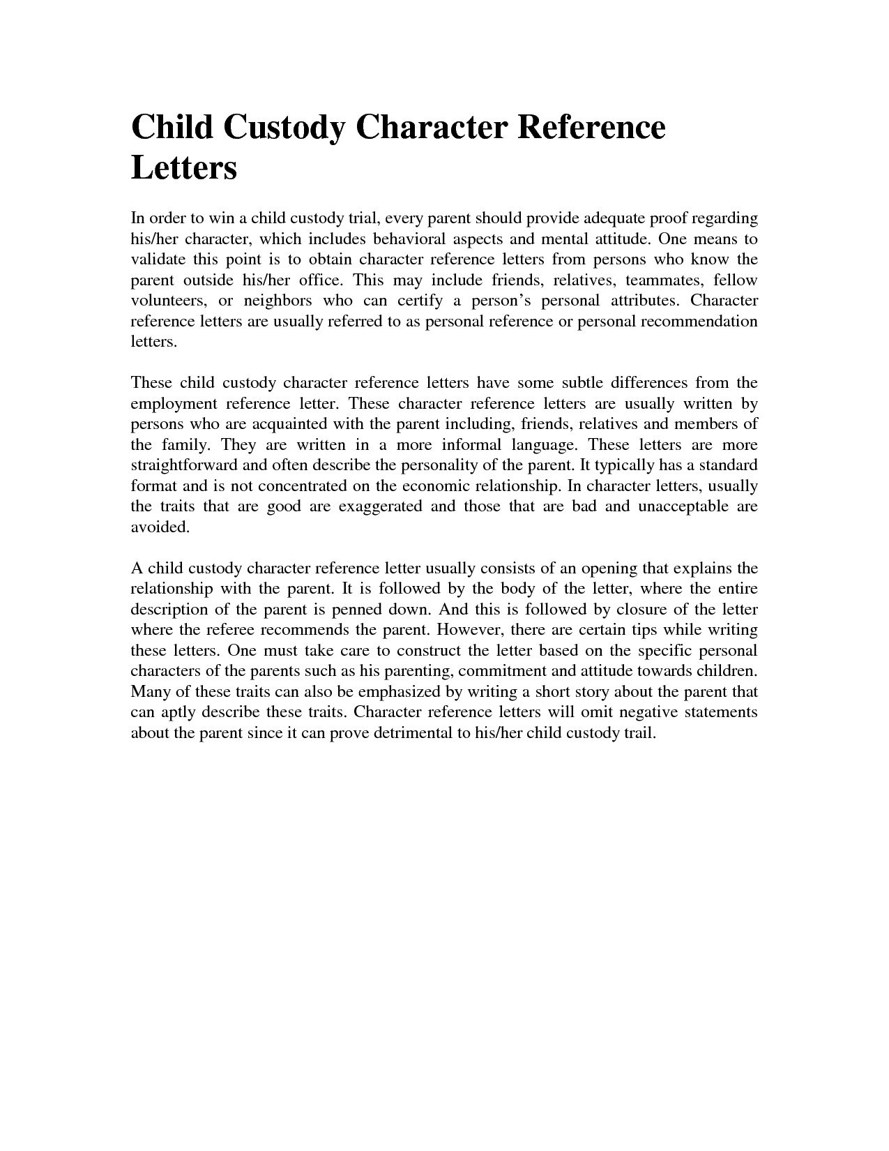 custody letter of recommendation sample