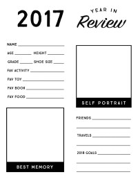 2017 Year in Review Printable for Kids