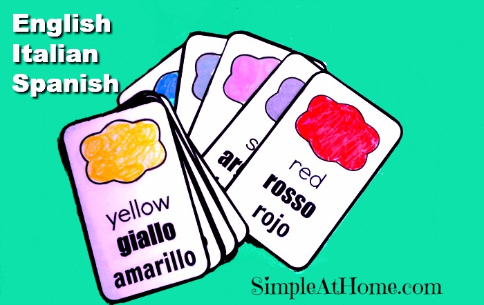 Free Italian and Spanish Color Flash Cards