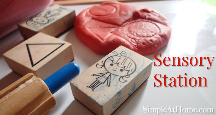Sensory Station: Playdough and Rubber Stamps