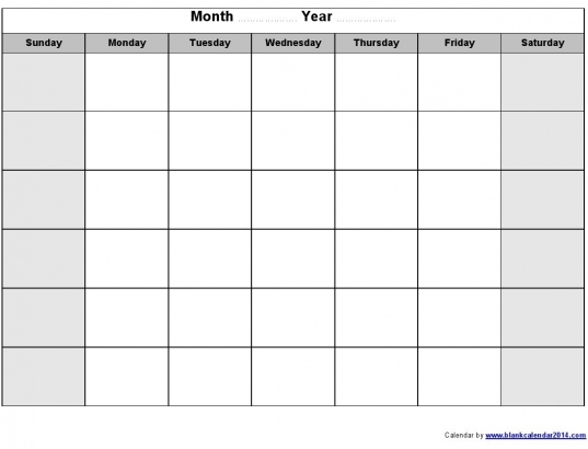 free blank monthly calendar template