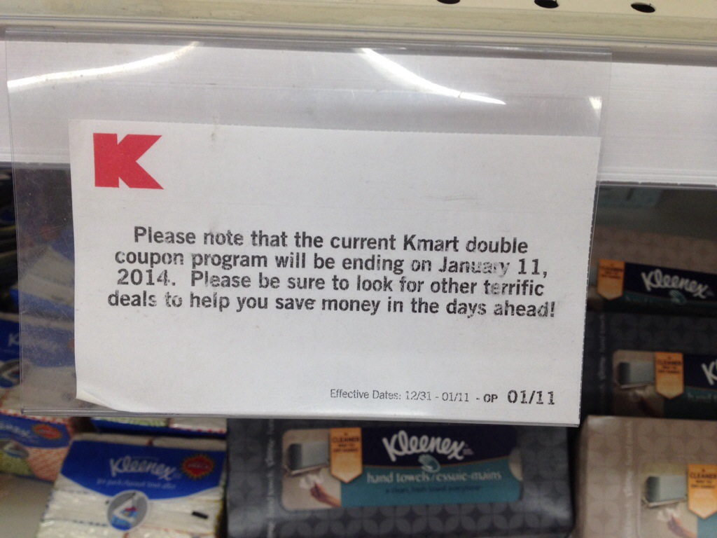 Kmart Coupons Kmart Ends Doubling Coupons Starting On 01 11 14 Simple Coupon Deals