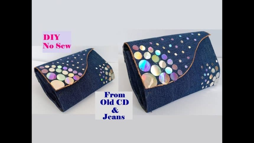 How To Make Clutch Purse With Cd And Old Jeans Simple